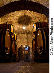 Old wine cellar - Old traditional dark wine cellar with big...