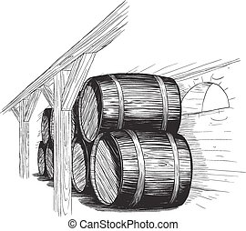 old wine cellar with rows of barrels. like woodcut technique