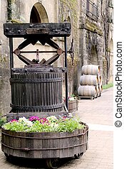 Old wine press and barrels