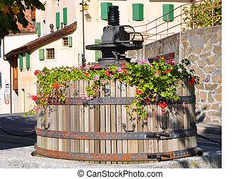 Old wine press in Lavaux region, Switzerland
