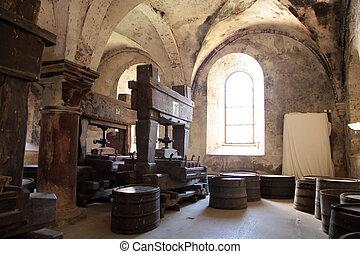 Old wine presses on vineyard in the Rheingau, Germany