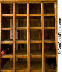 Old Wine Rack With Two Bottles