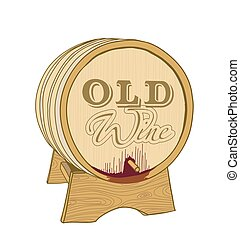 old wine wooden barrel on white. vector illustration