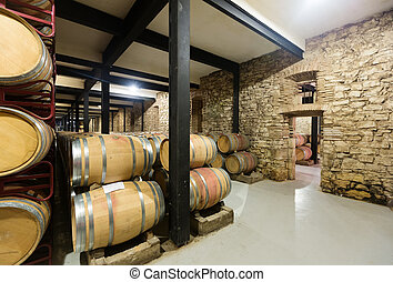 old winery with wooden barrels
