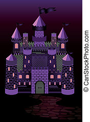Old witch castle, vector