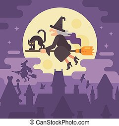 Old witch flying on a broom with a black cat over the night city. Trick or treat. Halloween flat illustration