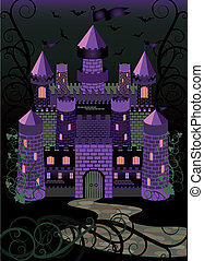 Old witch scary castle background,