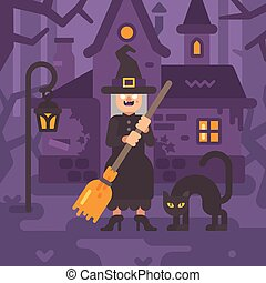 Old witch with a broom and a black cat standing near her hut in a dark forest at night. Trick or treat. Halloween character flat illustration