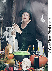 old witch with a broom, tinted
