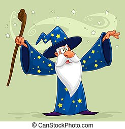 Old Wizard Cartoon Character With A Cane Making Magic