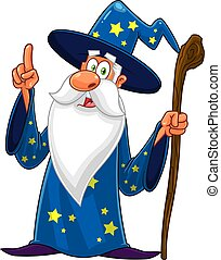 Old Wizard Cartoon Character With A Cane Pointing