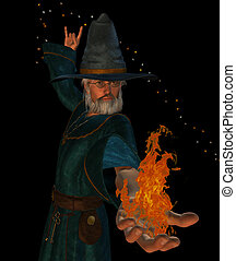 wizard - old wizard casting a spell