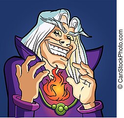 old Wizard casting a spell.blue wizard.cartoon wizard.