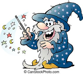 Old Wizard Magic Man holding a Wand