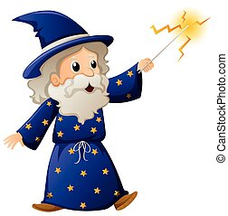 Old wizard with magic wand