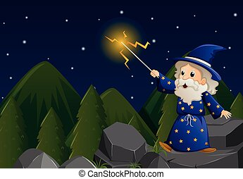 Old wizard with magic wand on the rock