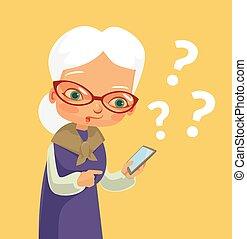 Old woman and modern phone. Vector flat cartoon illustration