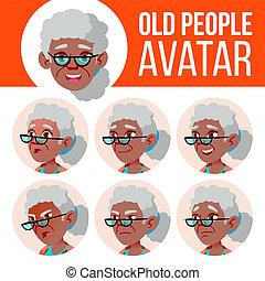 Old Woman Avatar Set Vector. Black. Afro American. Face Emotions. Senior Person Portrait. Elderly People. Aged. Children. Beautiful, Funny. Cartoon Head Illustration