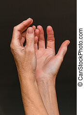 Old woman begging hands