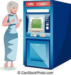 Old woman character standing near the ATM