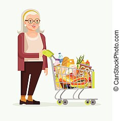 Old woman character with shopping food cart. Vector flat cartoon illustration