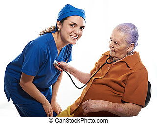 old woman check a doctor health