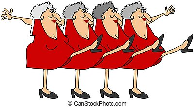 Old woman chorus line - This illustration depicts old women...