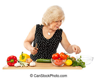 old woman cooking food isolated on white background
