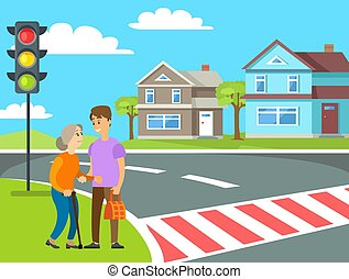 Old Woman Crossing Roadway, Pedestrian Vector