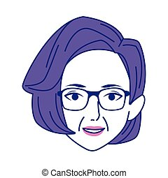 old woman face icon, colorful design