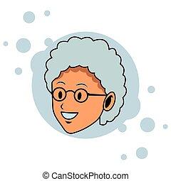 old woman face pop art