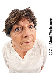 Close-up of woman standing over white background. Shot with fisheye lens.