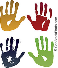 Old woman four hand prints