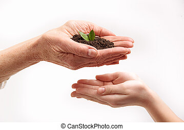 Old woman giving ground to young girl
