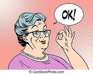 old woman grandma okay gesture