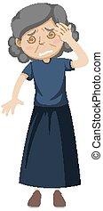 Old woman having dizzy illustration