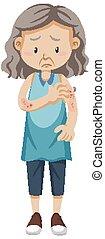 Old woman having skin rash illustration