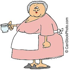 Old woman holding a cup of tea - This illustration depicts...