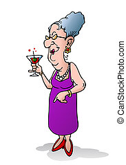 old woman holding beverage - illustration of an old woman...