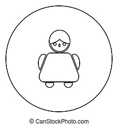 Old woman icon black color in circle outline vector...