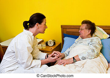 old woman in a nursing care