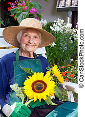 Close up Smiling Senior Woman in Gardening Outfit Sitting on a Chair Holding Fresh Sunflowers from the Garden.