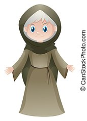 Old woman in medieval clothes