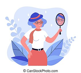 Old woman looking in mirror and smiling