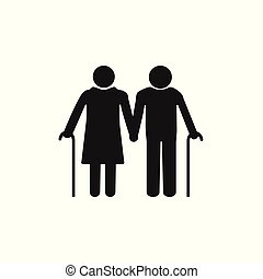 Old woman, man with a cane. Grey on white background. Flat...