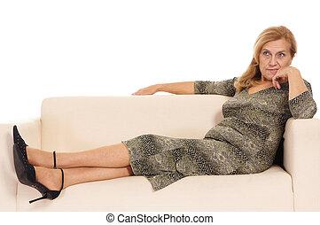 old woman on sofa