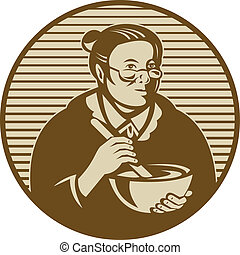 illustration of an old woman or granny cooking mixing bowl