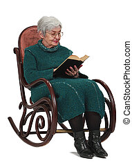 Old woman reading a black book while sitting in a rocker,...