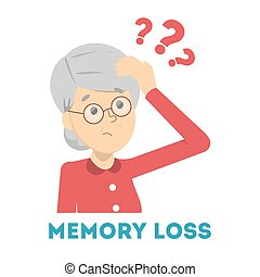 Old woman suffering from the memory loss. Confused