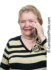 Old woman talking on the phone